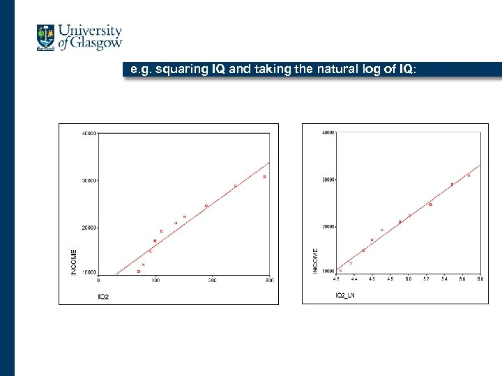 e. g. squaring IQ and taking the natural log of IQ: