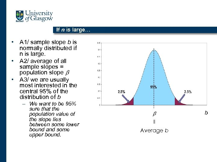 If n is large… • A 1/ sample slope b is normally distributed if
