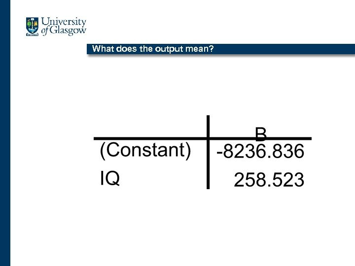 What does the output mean?