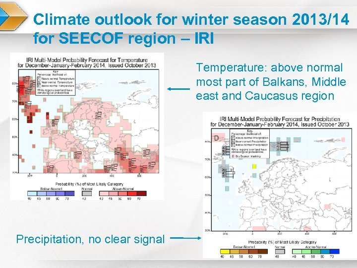 Climate outlook for winter season 2013/14 for SEECOF region – IRI Temperature: above normal