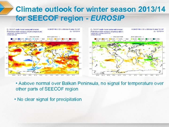 Climate outlook for winter season 2013/14 for SEECOF region - EUROSIP • Aabove normal