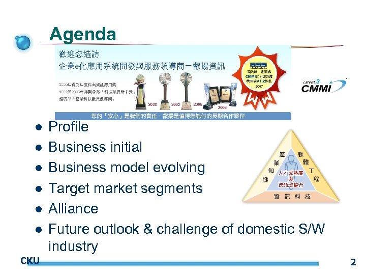 Agenda l l l CKU Profile Business initial Business model evolving Target market segments