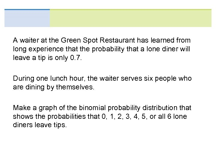 A waiter at the Green Spot Restaurant has learned from long experience that the