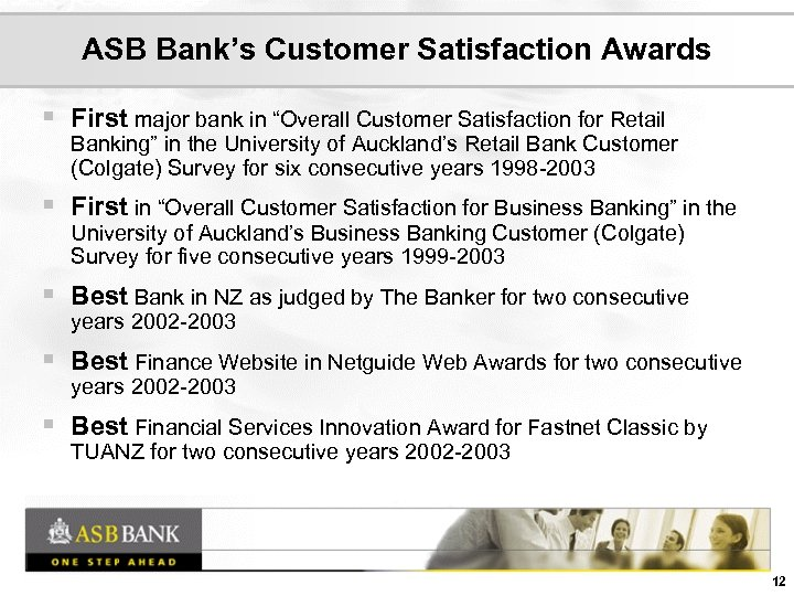 Presentations Accompanying Analyst Visit to ASB Bank Auckland