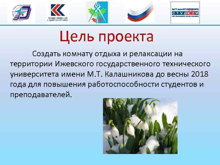 Цель проекта Создать комнату отдыха и релаксации на территории Ижевского государственного технического университета имени