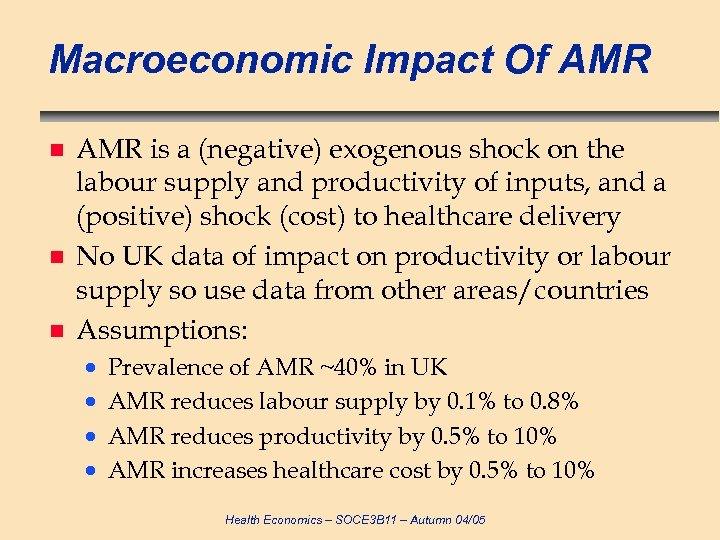 Macroeconomic Impact Of AMR n n n AMR is a (negative) exogenous shock on