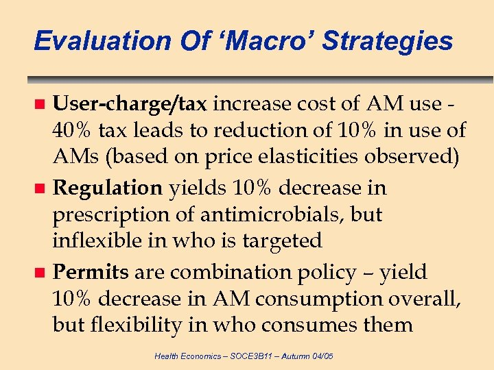 Evaluation Of 'Macro' Strategies User-charge/tax increase cost of AM use 40% tax leads to