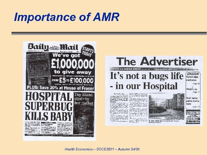Importance of AMR Health Economics – SOCE 3 B 11 – Autumn 04/05