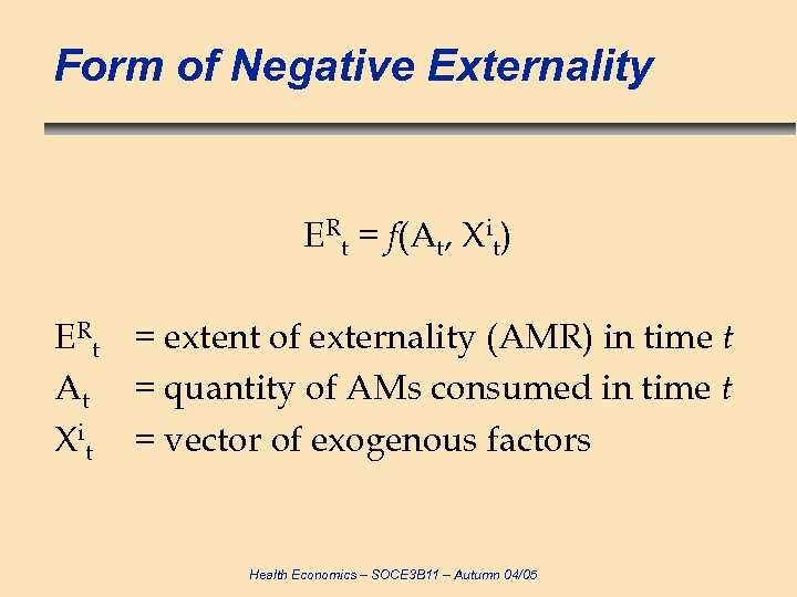 Form of Negative Externality ERt = f(At, Xit) ERt = extent of externality (AMR)