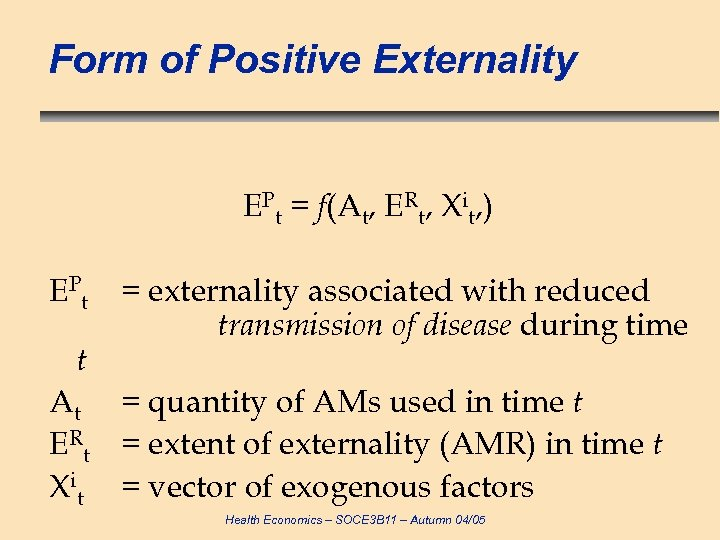Form of Positive Externality EPt = f(At, ERt, Xit, ) E Pt t =