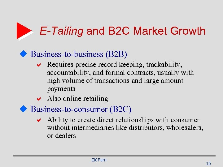 E-Tailing and B 2 C Market Growth u Business-to-business (B 2 B) a Requires