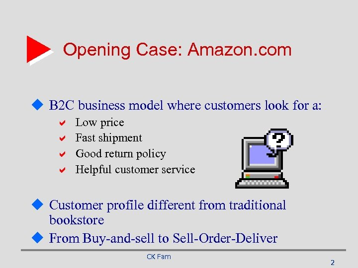 Opening Case: Amazon. com u B 2 C business model where customers look for