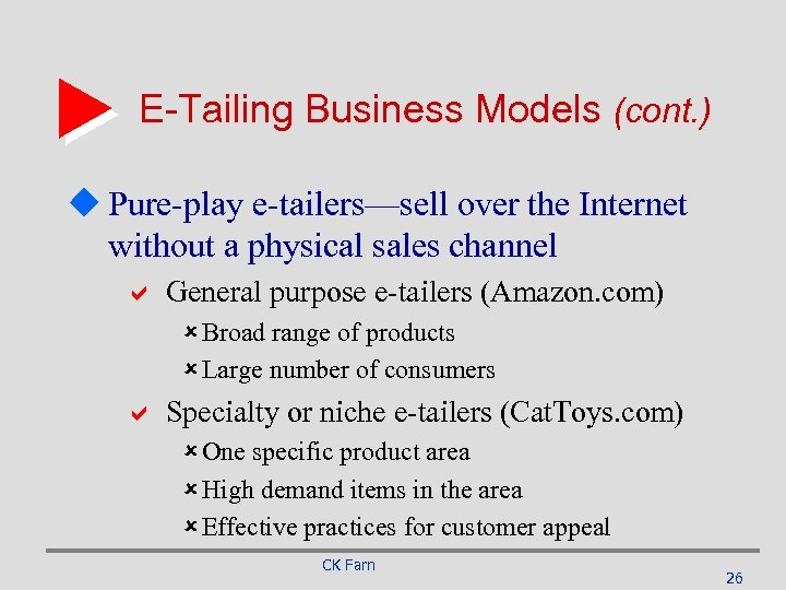 E-Tailing Business Models (cont. ) u Pure-play e-tailers—sell over the Internet without a physical