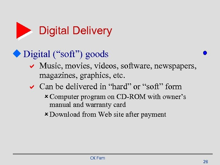 """Digital Delivery u Digital (""""soft"""") goods a Music, movies, videos, software, newspapers, magazines, graphics,"""