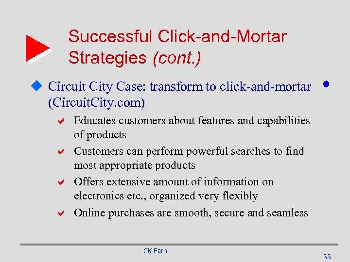 Successful Click-and-Mortar Strategies (cont. ) u Circuit City Case: transform to click-and-mortar (Circuit. City.