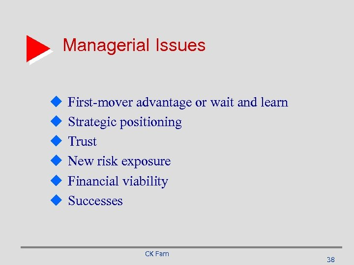 Managerial Issues u u u First-mover advantage or wait and learn Strategic positioning Trust