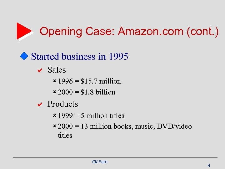 Opening Case: Amazon. com (cont. ) u Started business in 1995 a Sales û