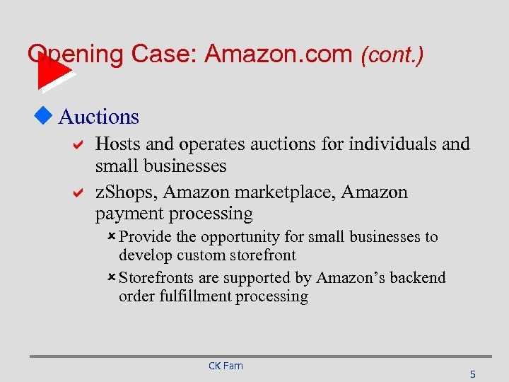 Opening Case: Amazon. com (cont. ) u Auctions a Hosts and operates auctions for