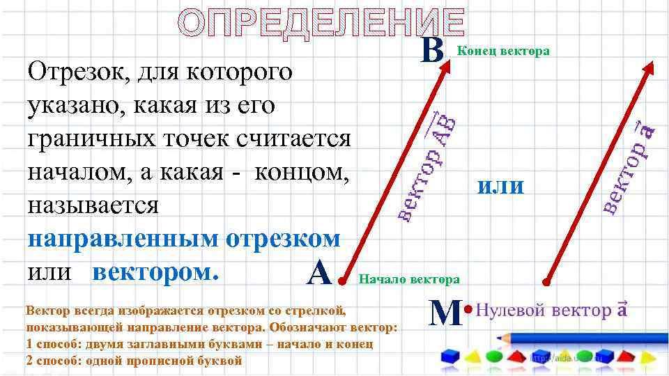 Конец вектора Отрезок, для которого указано, какая из его граничных точек считается началом, а