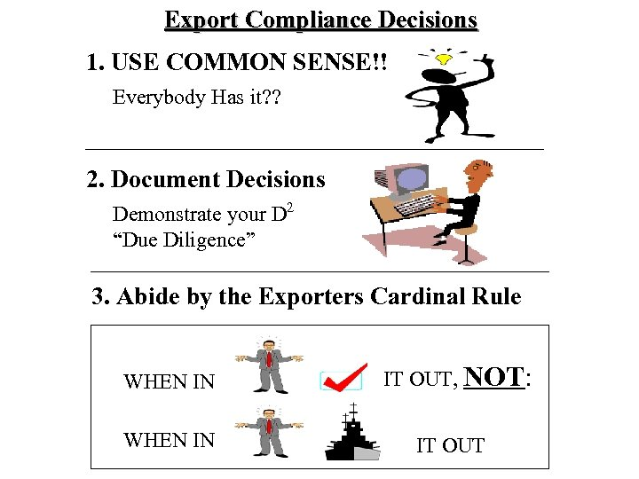 Export Compliance Decisions 1. USE COMMON SENSE!! Everybody Has it? ? 2. Document Decisions