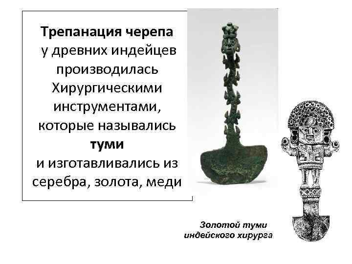 Трепанация черепа у древних индейцев производилась Хирургическими инструментами, которые назывались туми и изготавливались из