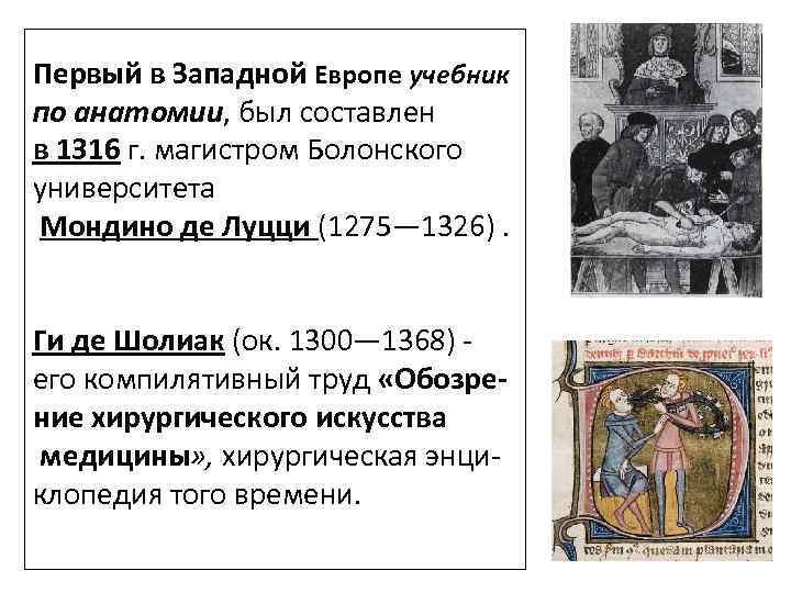 Первый в Западной Европе учебник по анатомии, был составлен в 1316 г. магистром Болонского