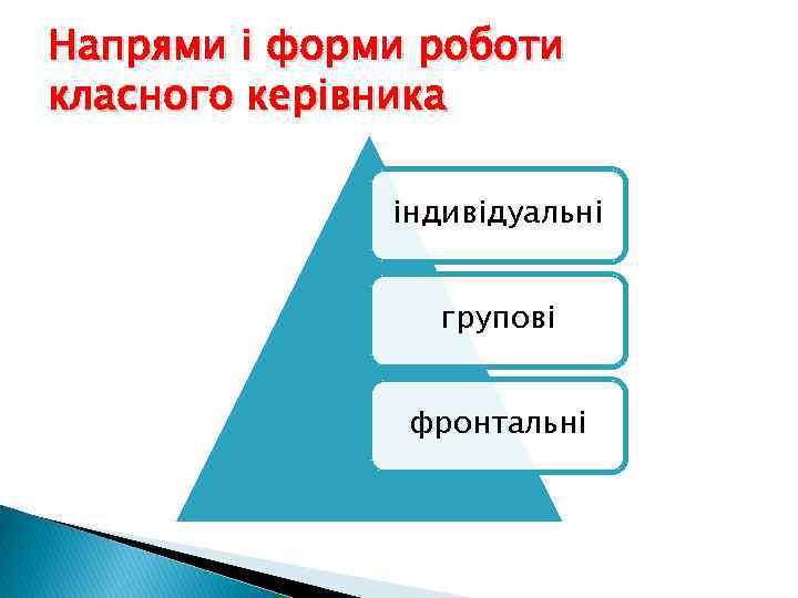 Напрями і форми роботи класного керівника індивідуальні групові фронтальні