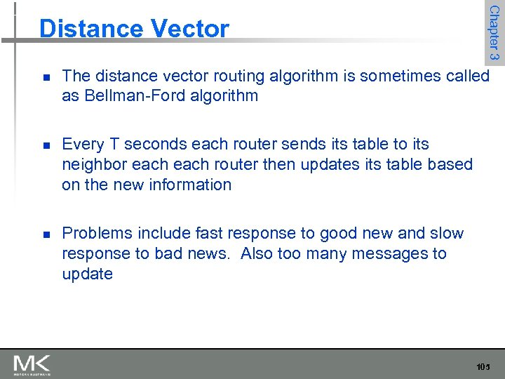 n n n Chapter 3 Distance Vector The distance vector routing algorithm is sometimes