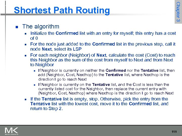Chapter 3 Shortest Path Routing n The algorithm n n n Initialize the Confirmed