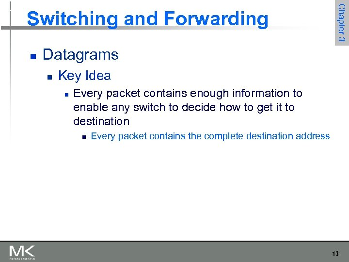 n Chapter 3 Switching and Forwarding Datagrams n Key Idea n Every packet contains