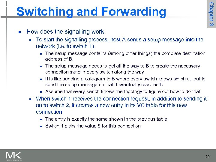 Chapter 3 Switching and Forwarding n How does the signalling work n To start
