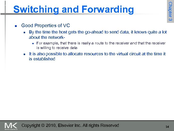 Chapter 3 Switching and Forwarding n Good Properties of VC n By the time