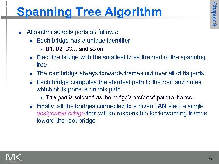 n Chapter 3 Spanning Tree Algorithm selects ports as follows: n Each bridge has