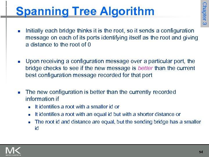 Chapter 3 Spanning Tree Algorithm n n n Initially each bridge thinks it is