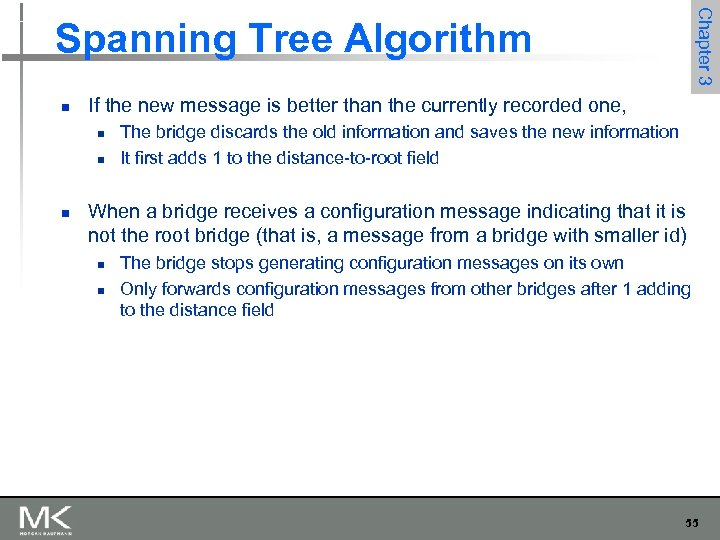 Chapter 3 Spanning Tree Algorithm n If the new message is better than the