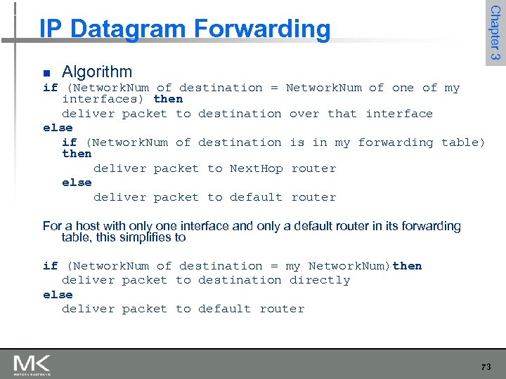 Chapter 3 IP Datagram Forwarding n Algorithm if (Network. Num of destination = Network.