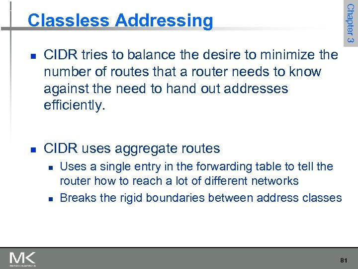 Chapter 3 Classless Addressing n n CIDR tries to balance the desire to minimize