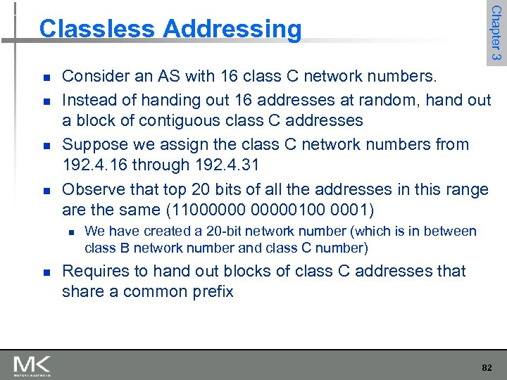 n n Consider an AS with 16 class C network numbers. Instead of handing