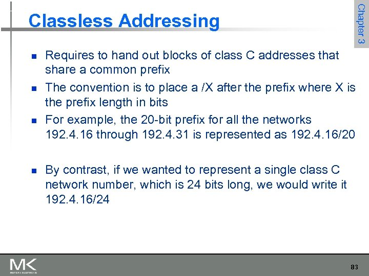 Chapter 3 Classless Addressing n n Requires to hand out blocks of class C