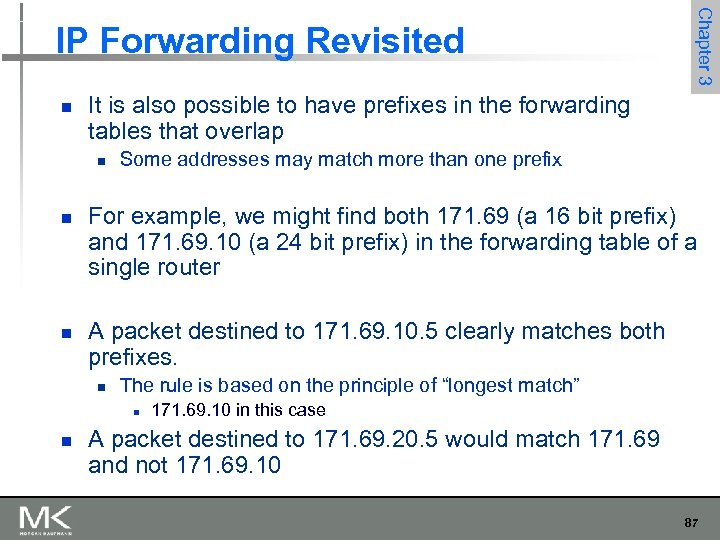n It is also possible to have prefixes in the forwarding tables that overlap