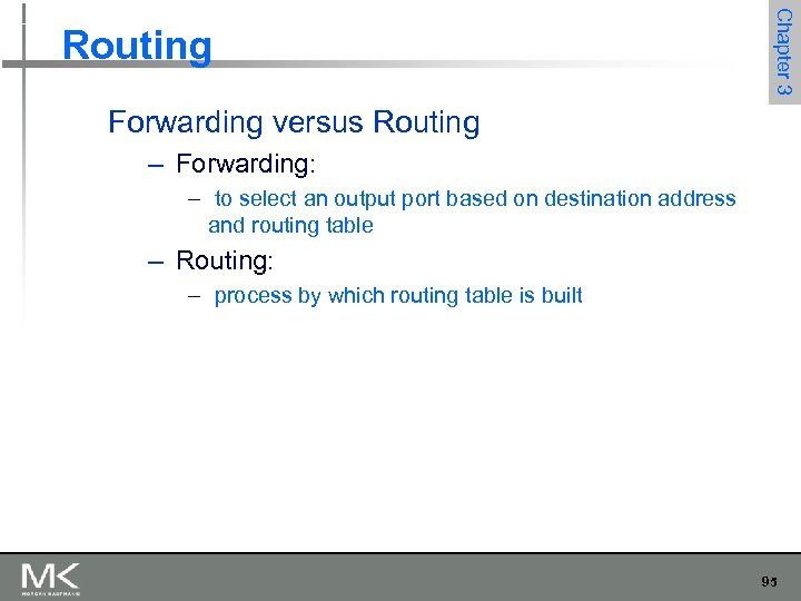 Chapter 3 Routing Forwarding versus Routing – Forwarding: – to select an output port