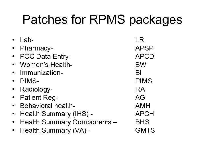 Patches for RPMS packages • • • Lab. Pharmacy. PCC Data Entry. Women's Health.