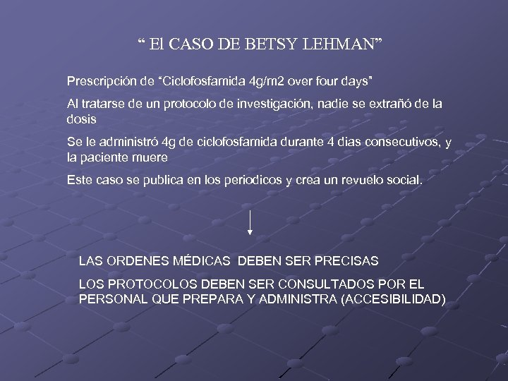 """"""" El CASO DE BETSY LEHMAN"""" Prescripción de """"Ciclofosfamida 4 g/m 2 over four"""