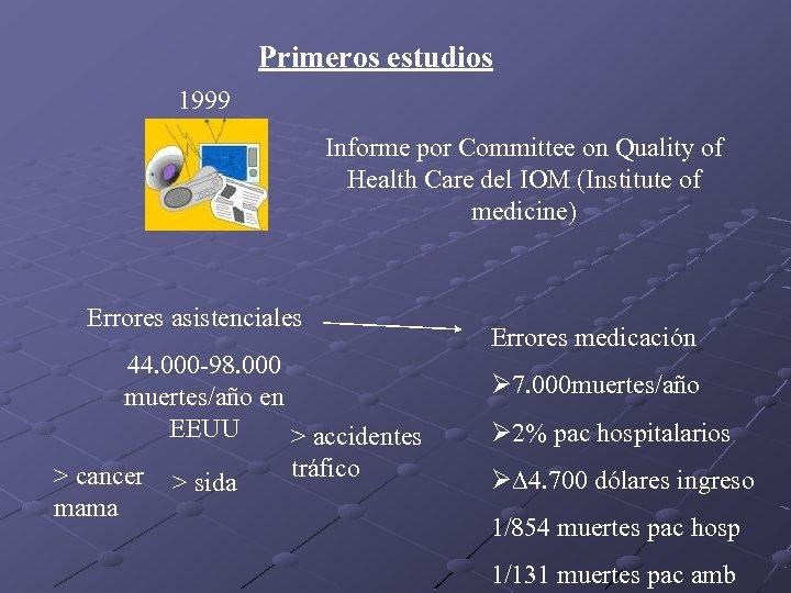Primeros estudios 1999 Informe por Committee on Quality of Health Care del IOM (Institute
