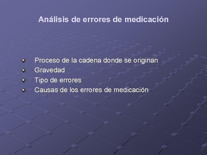 Análisis de errores de medicación Proceso de la cadena donde se originan Gravedad Tipo