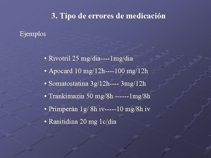 3. Tipo de errores de medicación Ejemplos • Rivotril 25 mg/dia----1 mg/dia • Apocard