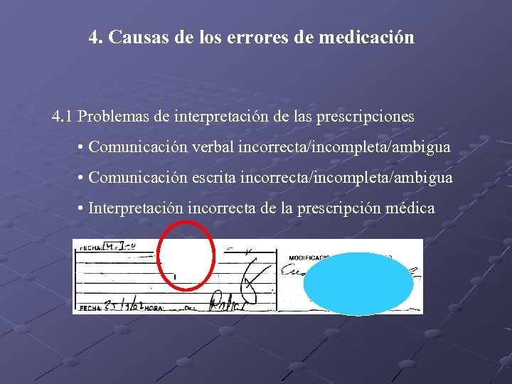 4. Causas de los errores de medicación 4. 1 Problemas de interpretación de las