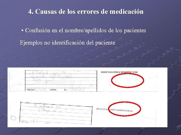 4. Causas de los errores de medicación • Confusión en el nombre/apellidos de los
