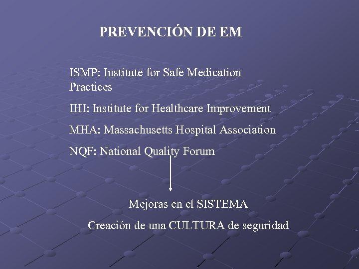 PREVENCIÓN DE EM ISMP: Institute for Safe Medication Practices IHI: Institute for Healthcare Improvement
