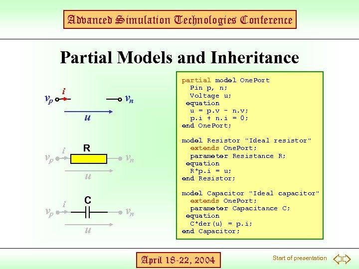Advanced Simulation Technologies Conference Partial Models and Inheritance vp i vn u vp i